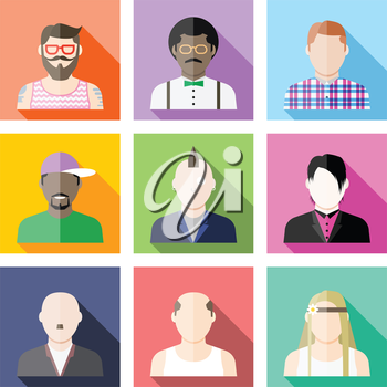 Set of user avatar icons in flat style with hipster, nerd, punk, rapper, emo, skinhead, loser, hippie, folk.