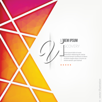 Abstract red and yellow polygon design template.Poster template with lines and shadows. Vector illustration for business presentation