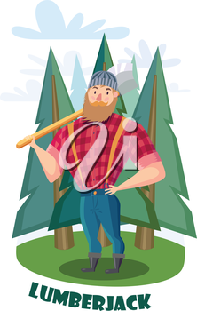 Lumberjack with axe in the forest. Lumberjack in  red shirt and blue jeans.
