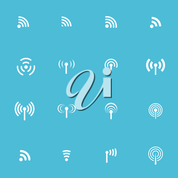 Set of sixteen vector wireless and wifi icons for remote access and communication via radio waves