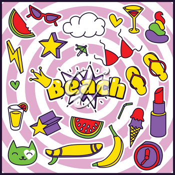 Fashion Summer Patch Badges with Beach Expression, Lipstick, Bra, Hearts, Shit, Sunglasses, Banana, Drinks, Cloud, Star, Watermelon. Set of Stickers, Pins, Patches in Cartoon 80s-90s Comic Style.