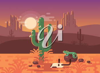 A High Quality Horizontal Background of Landscape with Desert, Cactus, Skulls and Lizard. Sunset on a Background of a Mountain Landscape. Vector Game Graphic. Sunset in Mexico.