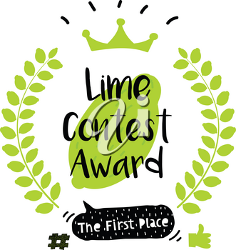 Series of Cute Funny Award Badges for Children's Contest. Interactive Pin or Badge in a Comic Cute Trendy Style with a Palm Branch Lime, Crown, Thumb up, Hash and Dialog Bubble. Lemonade Contest