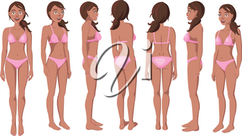 Vector Illustration of Smiling Women in Pink Bikini on a White Background. Cartoon Realistic Girls Set. Flat Young Lady. Front View Woman. Side View Woman. Back Side View Woman. Seven Positions