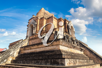 Ancient pagoda at Wat Chedi Luang temple in Chiang Mai, Thailand in a summer day