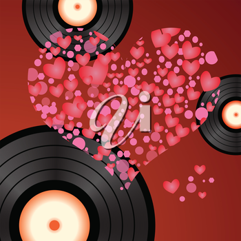 colorful illustration with music heart for your design