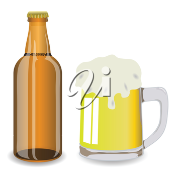 colorful illustration with bottle and mug of beer  for your design
