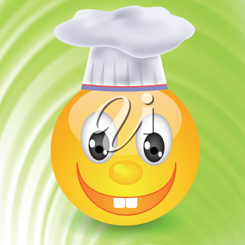 colorful illustration with smile in  chefs hat for your design