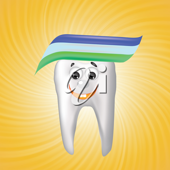 colorful illustration with tooth on a orange background for your design