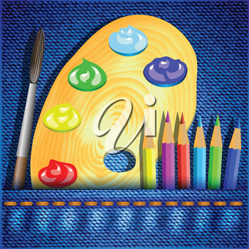 colorful illustration with pencils and paintbrush on a jeans background for your design