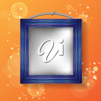 colorful illustration with blue frame on a orange background  for your design