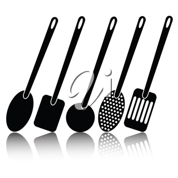 illustration with kitchen utensil silhouettes  on a white background