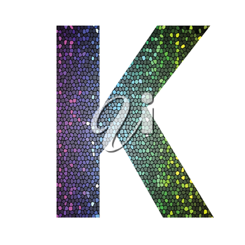 colorful illustration with letter K of different colors on a white background