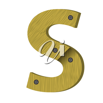 colorful illustration with wood letter S on  a white background