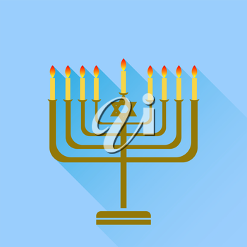 Jewish Holiday Hanukkah. Menorah Burning Candles Isolated on Blue Background.
