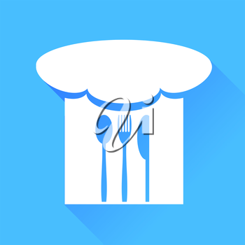 Spoon, Fork, Knife and Chef Hat Isolated on Blue Background