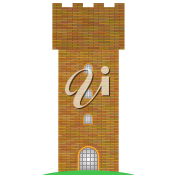 Old Brick Tower Isolated on White Background