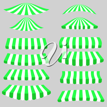 Green White Tents Icons Isolated on Grey Background