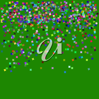 Falling Colorful Confetti Isolated on Green Background
