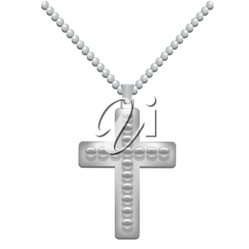 Silver  Metal Cross Isolated on White Background. Christian Religious Symbol.
