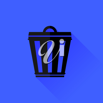 Trash Can Isolated on Blue Background. Long Shadow.