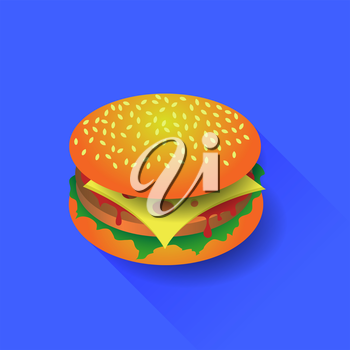 Fresh Hamburger Isolated on Blue Background. Long Shadow