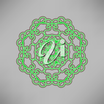 Oriental Green Ornament Isolated on Grey Background