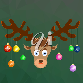 Cute Cartoon Deer with Colorful Glass Balls on the Horns on Winter Green Ice Background. Polygonal Pattern. Symbols of Christmas