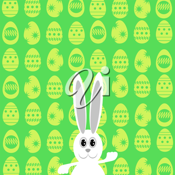 Easter Bunny. Greeting Card with  White Easter Rabbit.