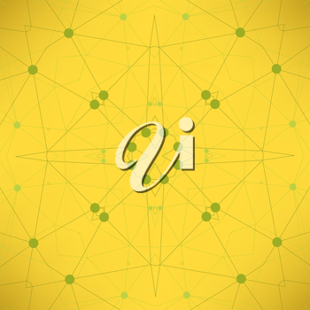 Yellow Technology Background with Particle, Molecule Structure. Genetic and Chemical Compounds. Communication Concept. Space and Constellations.