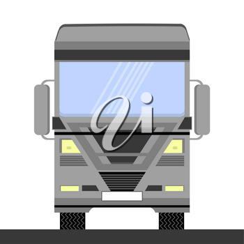 Grey Container Truck Icon on White Background. Front View. Cargo Delivery. Generic Semi-trailer Transportation. Car Eurotrucks Delivering Vehicle