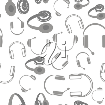 Set of Headphones Seamless Pattern Isolated on White Background. Musical Stereophones Gray Silhouettes.