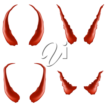 Set of Red Horns Isolated on White Background
