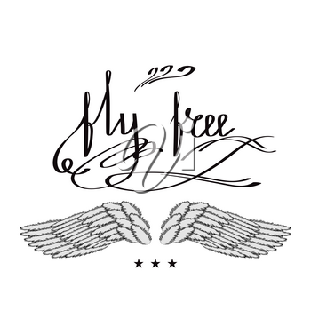Angel or Phoenix Wings. Winged Logo Design. Part of Eagle Bird. Design Elements for Emblem, Sign, Brand Mark. Fly Free Text. Hand Drawn Motivational Lettering.