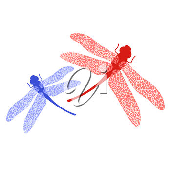 Colored Stilized Dragonfly Isolated on White Background. Insect Logo Design. Aeschna Viridls