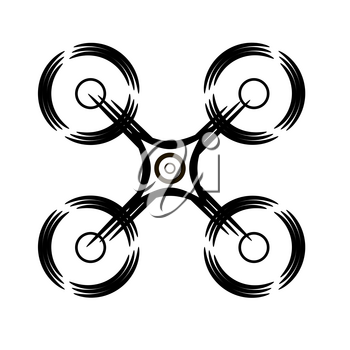 Photo and Video Air Drone Icon Isolated on White Background. Modern Quadrocopter with Digital Camera Silhouette. High Technology Innovation Copter Concept with Remote Control