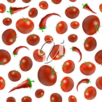 Red Ripe Tomato and Pepper Seamless Pattern Isolated on White Background. Vegetable Organic Texture.