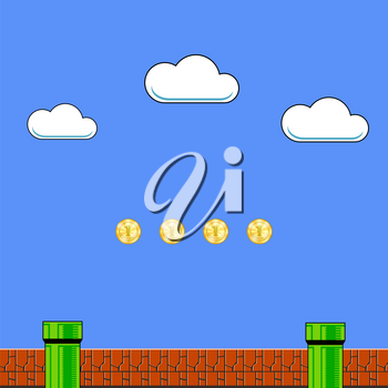 Old Game Background. Classic Retro Arcade Design with Pipe and Brick.
