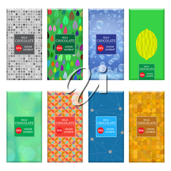Set of Different Milk Chocolate Bar Isolated on White Background. Sweet Food Collection. Package Mock up.