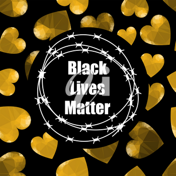 Black Lives Matter Banner with Barbed Wire for Protest Isolated on Black Background.