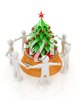3D human around gift and Christmas tree on a white background