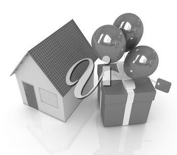 House with gift and ballons on a white background