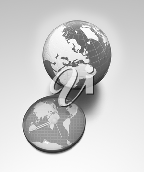 Clock of world map and earth on metallic background