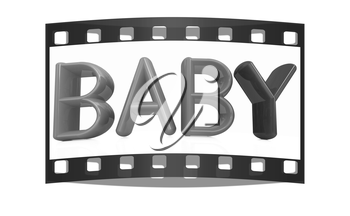 3d colorful text buby on a white background. The film strip