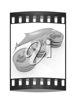 Gold coins with 3 major currencies with golden dolphin on a white background. The film strip