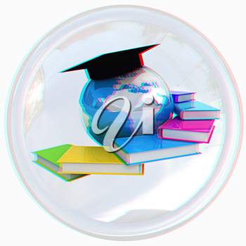 Global Education button on a white background. Anaglyph. View with red/cyan glasses to see in 3D. 3D illustration