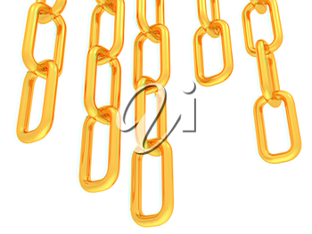 gold chains on white background - 3d illustration. 3D illustration. Anaglyph. View with red/cyan glasses to see in 3D.