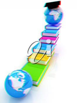 The growth of education. Globally. 3D illustration. Anaglyph. View with red/cyan glasses to see in 3D.