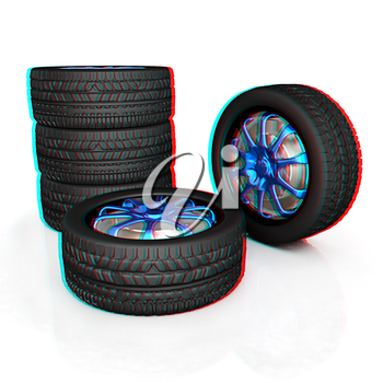 car wheel illustration on white background. 3D illustration. Anaglyph. View with red/cyan glasses to see in 3D.
