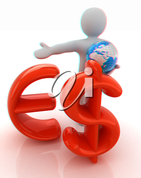 3d people - man, person presenting - euro and dollar with global concept with Earth. 3D illustration. Anaglyph. View with red/cyan glasses to see in 3D.